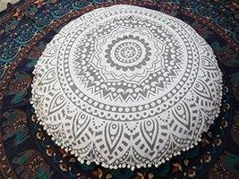 Traditional Jaipur Silver Ombre Mandala Floor Cushion, Large Decorative ... - $49.99