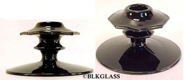 Black Glass  Candlesticks Central Glass Works Candleholders Disc Dome Oc... - $33.99