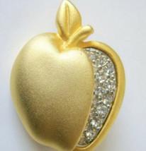 Vintage Apple Brooch L Razza Rhinestone Gold Matte Pin Brooch Jewelry for Her - $10.59
