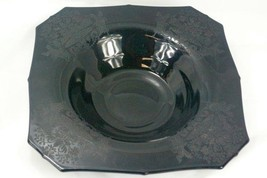 Paden City 1920 Gothic Garden Black Square Footed Console Bowl - $76.22