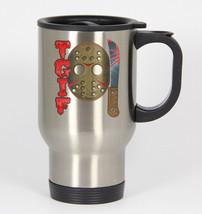 TGIF 13th #341 - Funny 14oz Silver Travel Mug Halloween Friday Jason - $21.99