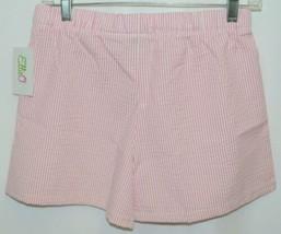 Ellie O Womens Seersucker Lounge Shorts Pink Stripe Size Small image 2