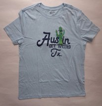 Arizona Jean Co. Blue Graphic T-Shirt Size Large Cactus Get Weird Austin TX P$20 - $8.33