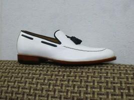 Handmade Men's White Leather Black Tassel Slip Ons Loafer Dress/Formal Shoes image 3