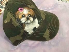 SHIH TZU HAND PAINTED CAMO CAP HAT ADORABLE! - $110.00