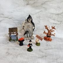 Cemetery Fairy Garden Kit, Miniature Halloween Village Set, Grim Reaper Ghost image 4