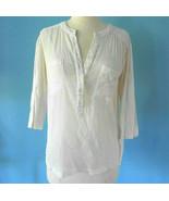 Aubin & Wills White Cotton Button Down Blouse tunic shirt size xs extra ... - $34.64