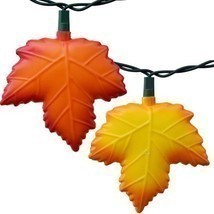 Autumn leaf Sting lights - Thanksgiving party lights - Red & Gold Maple ... - $45.00