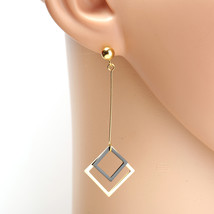 Gold Tone Designer Drop Earrings, Jet Black Dangling Geometric Shaped Ac... - $18.99