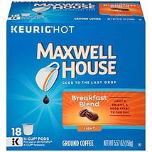 MAXWELL HOUSE Breakfast Blend Coffee, K-CUP Pods, 18 count - $23.30
