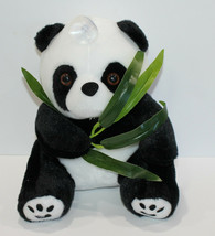 Panda Bear Plush Stuffed Animal Suction Hang Tag Plastic Leaves - $12.13