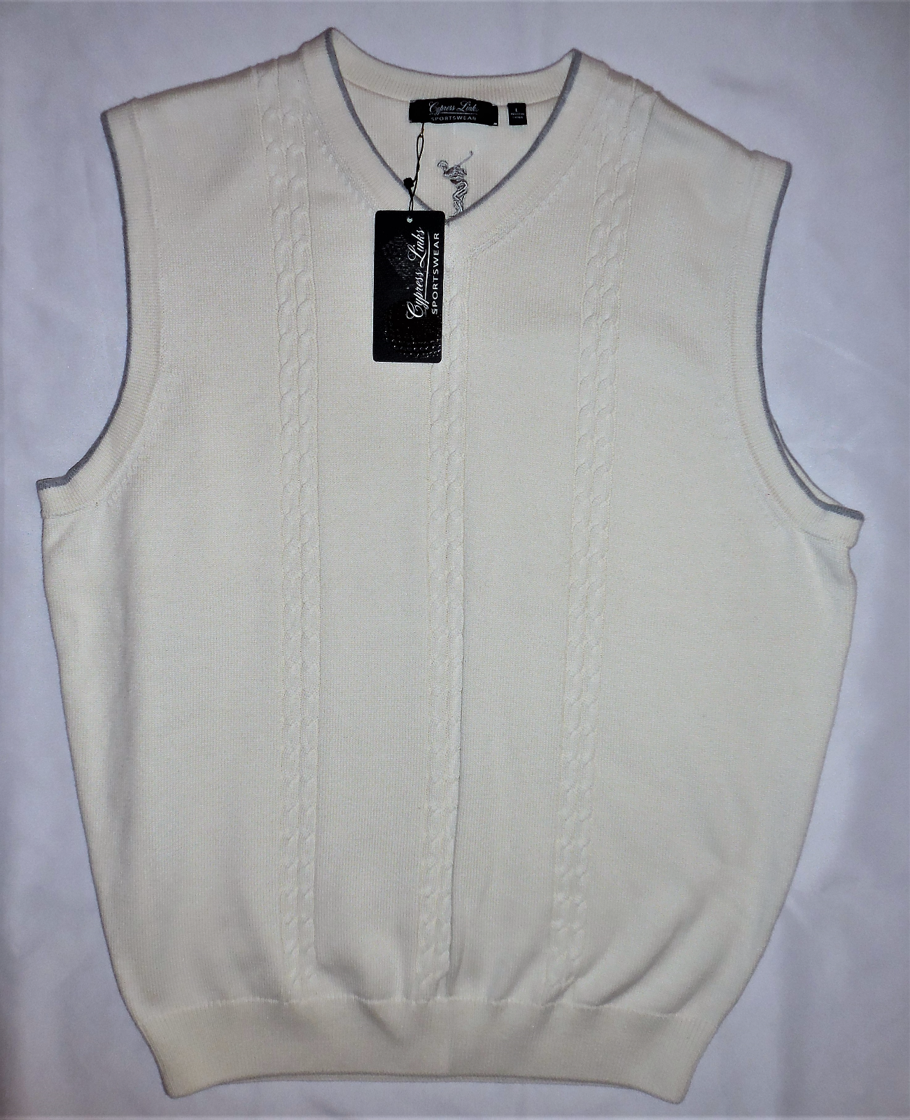 CYPRESS LINKS Cable Knit Cream Sweater Vest Large Golf Attire Sportswear LARGE image 6