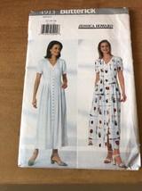 BUTTERICK #4913 BUTTON FRONT long a-line pleats DRESS shortsleeve uncut ... - $11.79