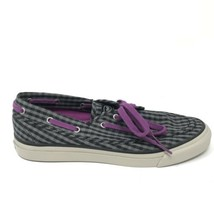 Sperry Womens Size 6.5 Top-Sider Boat Shoes Black Gray Stripe Check Purple Laces - $32.71