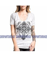 Affliction Seminary AW15514 New Short Sleeve V-neck White Top for Women - $49.62