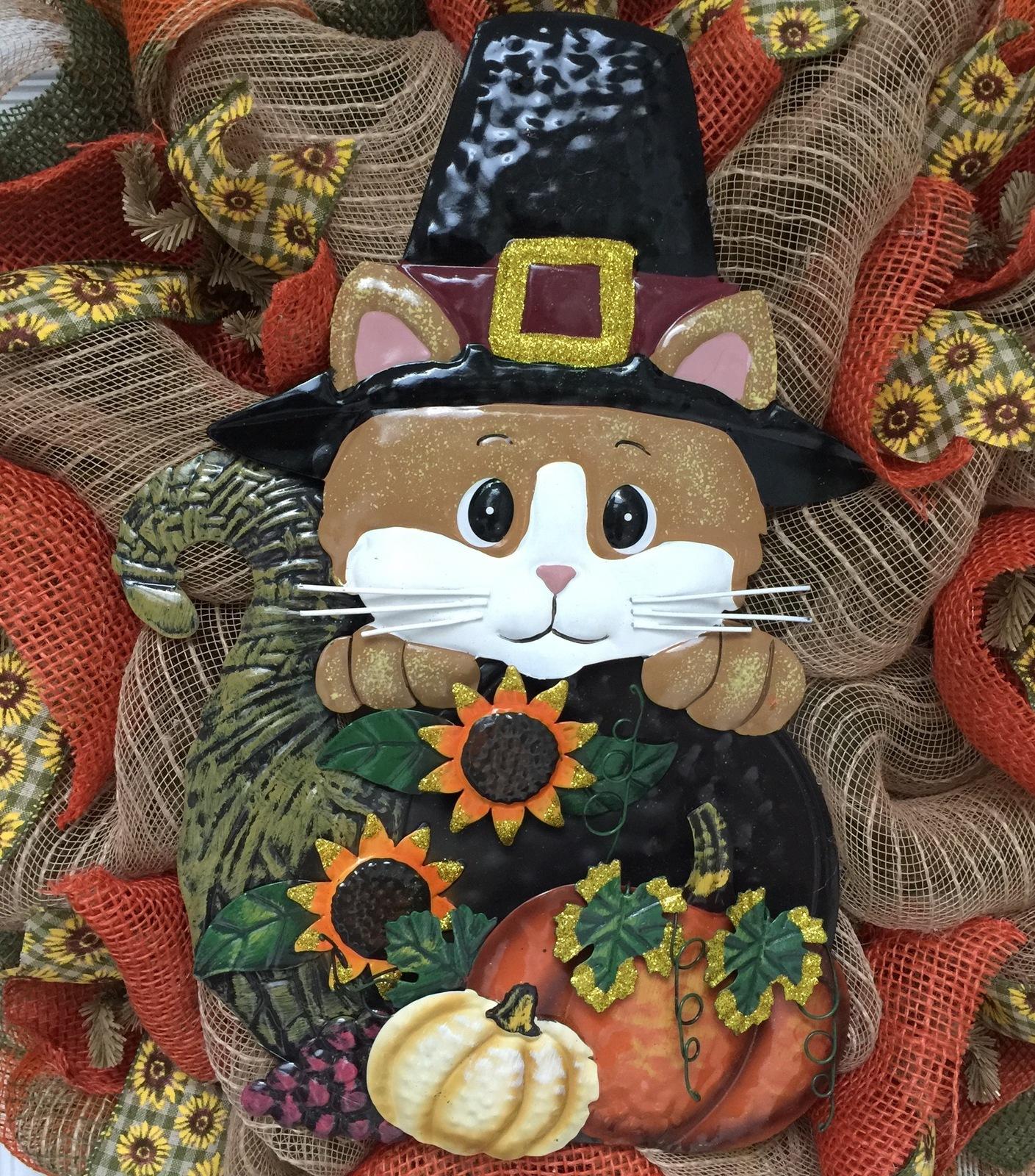 Harvest Pilgrim Kitty With Cornucopia Deco Mesh Wreath
