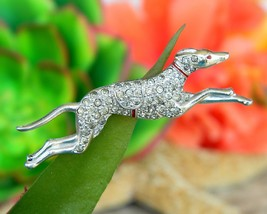 Vintage greyhound dog race track racing running brooch pin rhinestones thumb200