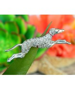 Vintage Greyhound Dog Race Track Racing Running Brooch Pin Rhinestones - $26.95