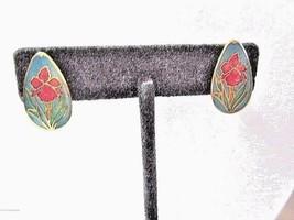 CLOISONNE ENAMEL FLOWER PINK AND BLUE CLIP ON EARRINGS TEAR DROP SHAPE V... - $19.80
