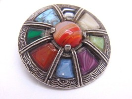 Vintage Estate Pin Signed MIRACLE Celtic AGATE Glass Oval Brooch Older P... - $23.52