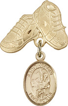 14K Gold Filled Baby Badge with St. Jerome Charm and Baby Boots Pin 1 X 5/8 inch - $102.90