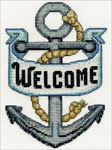 """Design Works Counted Cross Stitch Kit 5""""X7""""-Welcome Anchor (14 Count) - $13.15"""