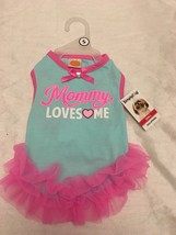 "Simply Dog Aqua Tutu Dress ""MOMMY LOVES ME""  Puppy/Dog Size Small Cute! - $14.99"