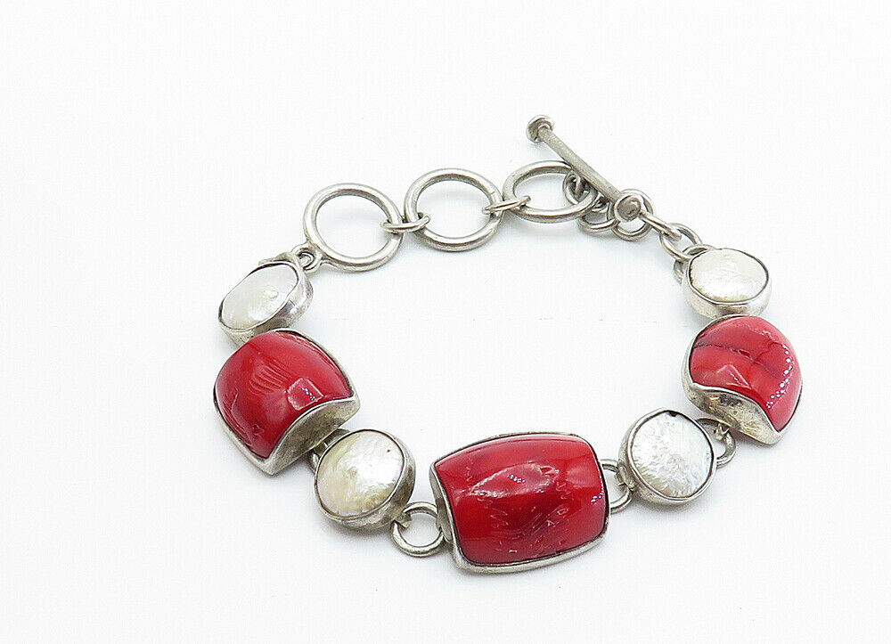 925 Sterling Silver - Vintage Red Coral & Mother Of Pearl Chain Bracelet - B6066