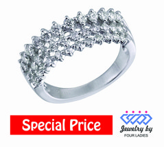 Solid 14K White Gold 1.51CT Real Natural Diamond Unique Fashion Ring Jew... - $1,484.71
