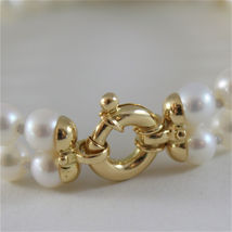 18K YELLOW GOLD BRACELET WITH TWO STRANDS WHITE FW PEARLS 7.08 IN MADE IN ITALY image 3