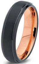 Midnight Rose Collection Tungsten Wedding Band Ring 6mm for Men Women Bl... - $95.53
