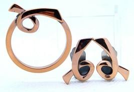 """VTG Matisse RENOIR Signed """"DEVOTION"""" Design Copper Brooch & Earring Set - $123.75"""
