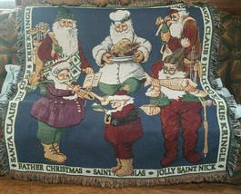 Christmas Santa St Nick Kris Kringle Tapestry Afghan Fringe Throw Blanket - $21.99