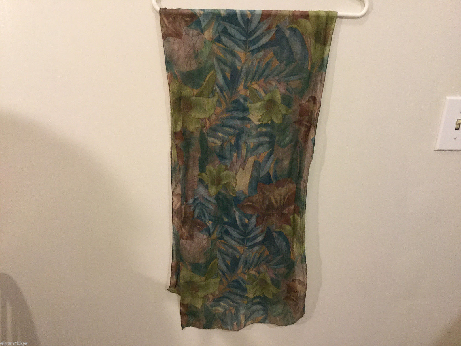 "Sheer Multi color Floral Pattern Scarf, Green Teal Brown Gold, 54"" long"