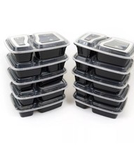 10 Meal Prep Containers 2 Compartment Food Storage Plastic Reusable Micr... - $9.41