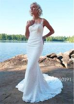 Delicate Lace Sheer Jewel Neckline Mermaid Wedding Dress with Crystals Beach Lac image 2