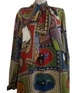 NWT Gucci animal card print 100% silk bow blouse  - IT 38/US 4; $1800 - $723.04