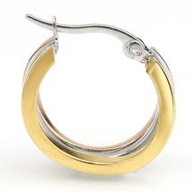 Trendy Tri-Color Silver, Gold & Rose Tone Hoop Earrings- United Elegance image 2