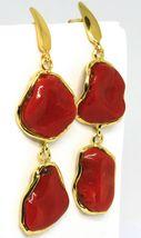 Ohrringe Silber 925, Anhänger, Gelb, Rote Koralle Natürlich Cabochon image 3