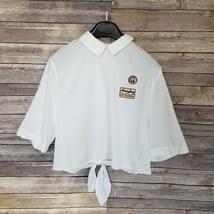 New ZARA sz S Trafaluc collection white tie hem button down shirt (K04) - $16.00