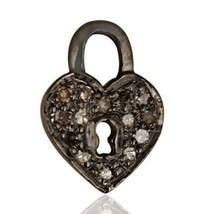 925 Sterling Silver Pave Diamond Lock Charm Pendant Wedding Gift Jewelry - $18.81