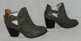 Qupid Maze125 Grey Distress Pu Closed Toe Block Heel Ankle Boots Size 6 image 3
