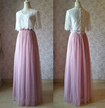Two Piece Bridesmaid Dress Long Tulle Skirt Sleeve Crop Lace Top Wedding Outfit image 1
