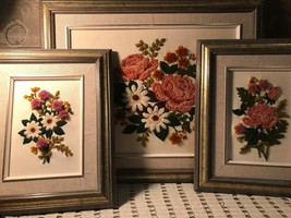 Embroidery Flower Framed Pictures Set of Three Vintage - $78.06