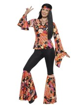 Smiffys Willow the Hippie 1960s Floral Adult Womens Halloween Costume 45516 - $48.39