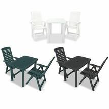 vidaXL 3 Piece Bistro Set Plastic Patio Outdoor Furniture Set Multi Colors - $146.99+