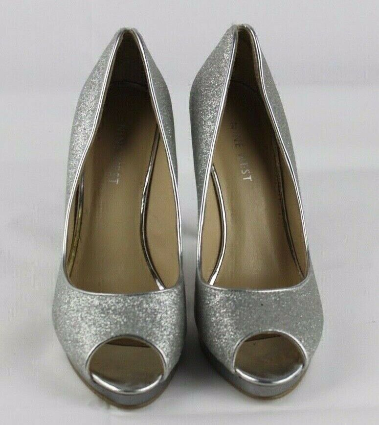 Nine West women's shoes heel silver metallic open toe size 5.5 M