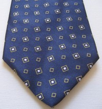 Brooks Brothers 346 Men's 100% Silk Tie Navy Blue Gold/White Cravatte - $24.18