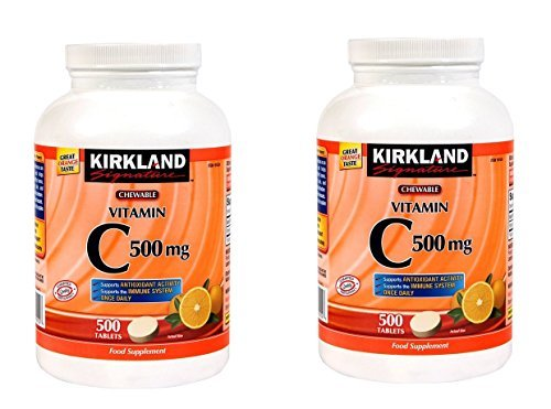 Kirkland Signature Vitamin C 500mg 2-Pack or 1000 Tangy Orange Chewable Tablets - $57.41