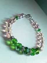 Green and Pink Beaded Bracelet Handmade with Silver toned Accents - $12.00